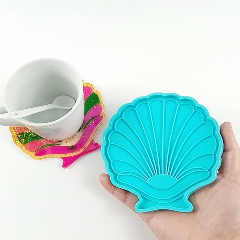 Shell Shape Coaster Epoxy Resin Mold Cup Mat Pad Silicone Mould DIY Crafts Tool G5GC