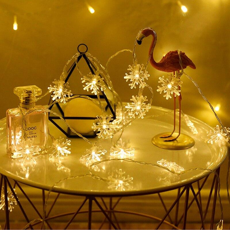 Regalo de árbol de Navidad copos de nieve muñeco de nieve Santaclaus Elk mutch Navidad LED de colores guirnalda de luces adornos navideños para el hogar