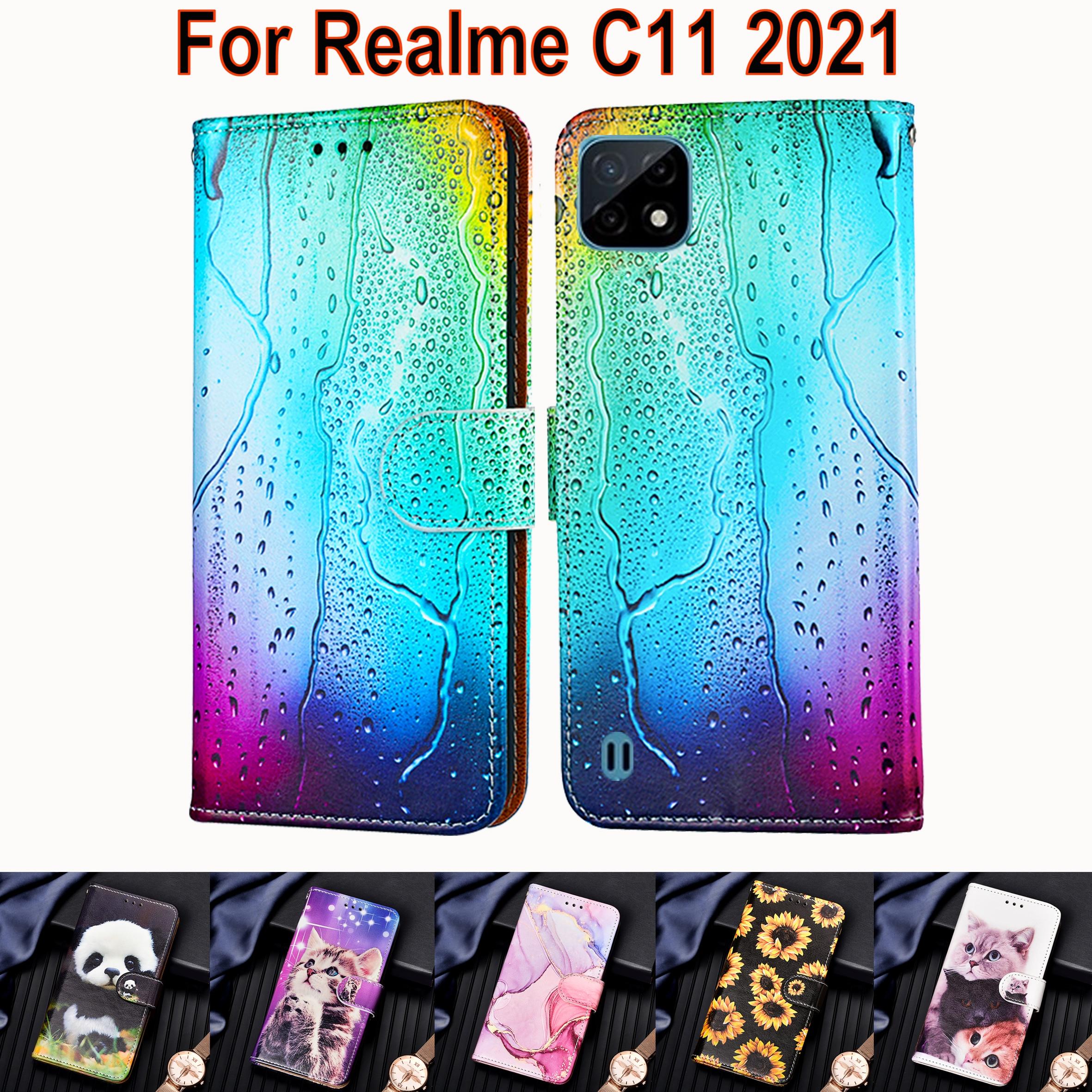 Чехол для Realme C11, кожаный чехол-книжка с подставкой для OPPO Realme C11 2021 C 11