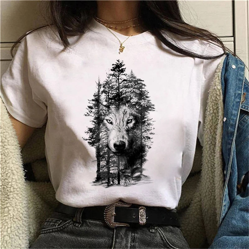 New Summer 2021 T-Shirt wolf Printed Tshirt Woman Cartoon graphic tee Anime Harajuku 90s Tshirt Ullzang Female Streetwear Tops