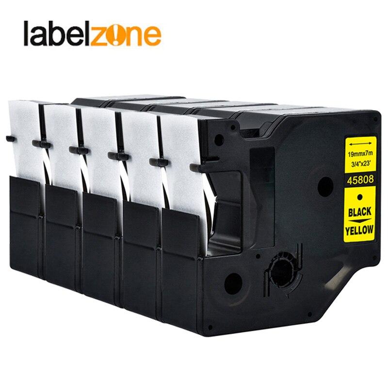 "5 piezas 45808 compatible Dymo D1 19mm impresoras de etiquetas, negro sobre amarillo, 3/4 ""W x 23"" L (19mm * 7 m) fabricantes de etiquetas dymo D1"
