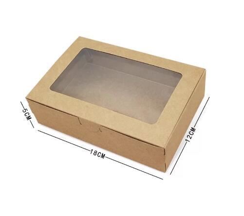 20 piezas-caja de papel Kraft marrón con ventana de 18x12x5cm, cajas de...