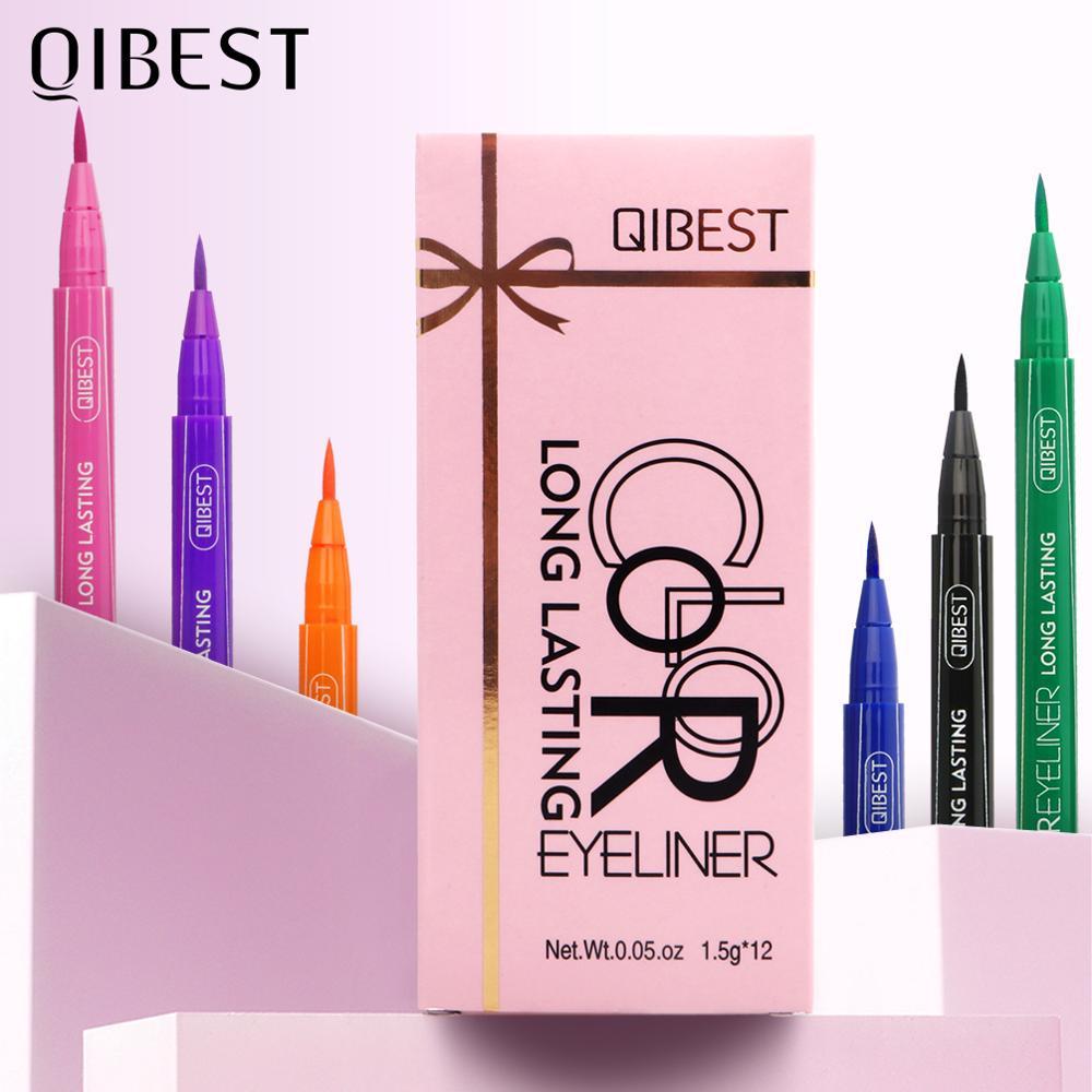 QIBEST-perfilador de ojos líquido, juego de 12 colores, resistente al agua, mate largo, maquillaje colorido, delineador de ojos, cosmético profesional
