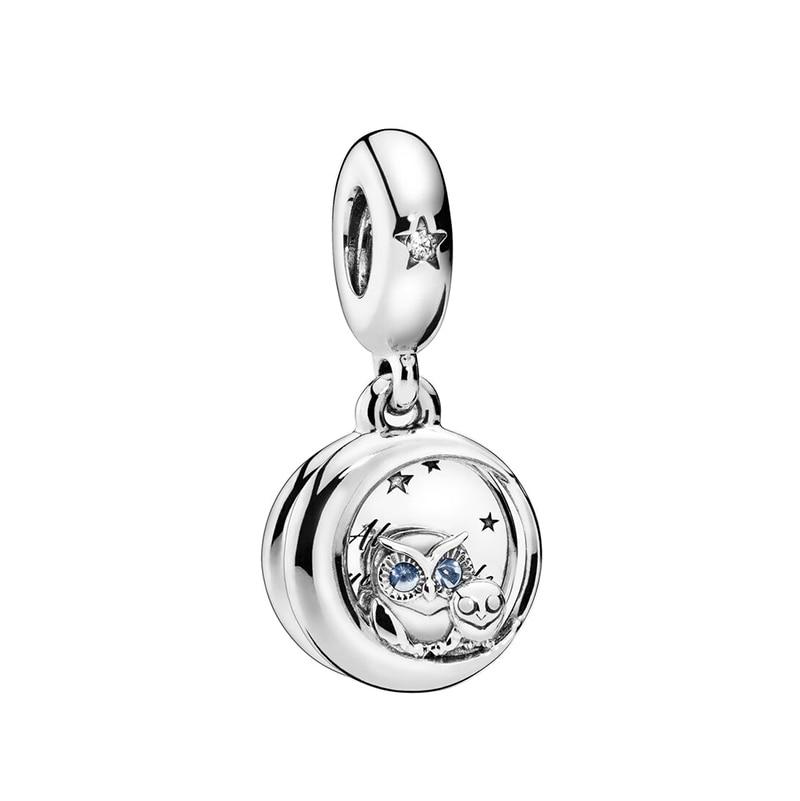 Original 925 Sterling Silver Bead Espumante Coruja Dangle Charme Fit Pandora Bracelet Bangle Mulheres Colar Jóias DIY