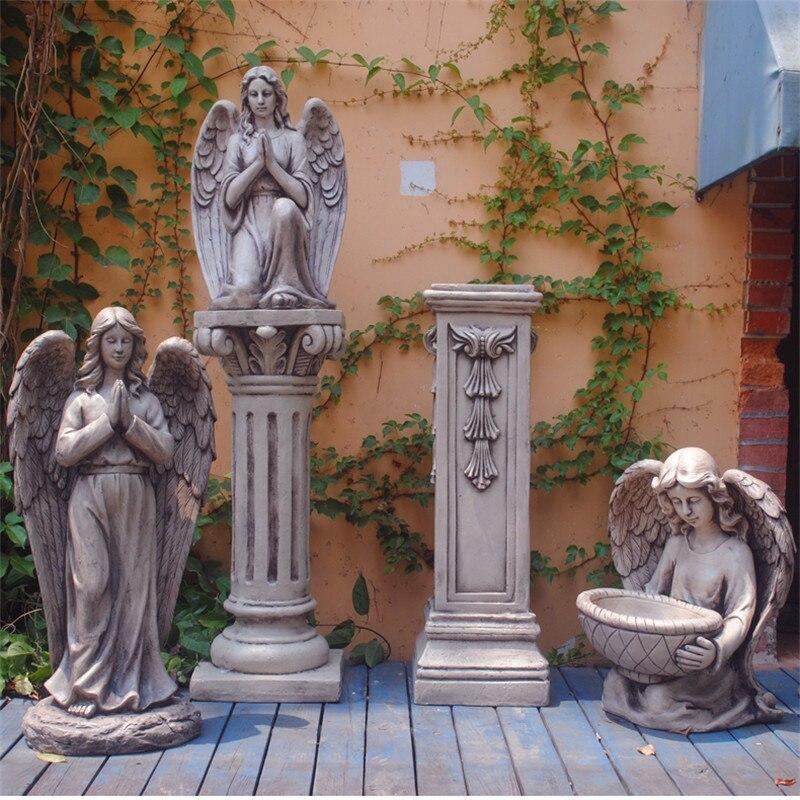 Estatua de columna de mármol de diosa, escultura de arte de Ángel, artesanía de resina para jardín al aire libre