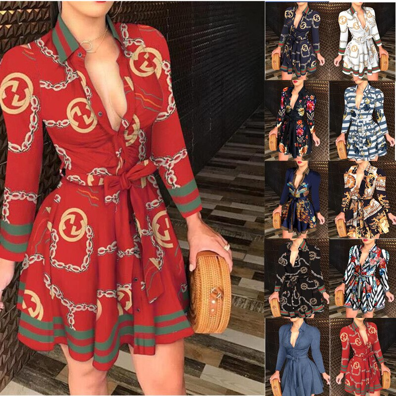 10 Lace-up Chain Deep V-neck Party Elegant Dresses Ladies Petticoat Long-sleeved Dress Mini Long-sleeved Fashion Sexy Print