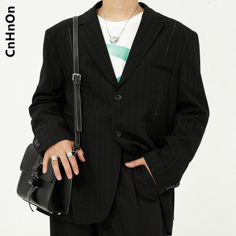 Autumn New Products Simple Striped Suit Loose Lazy Black Suit Men M5-P-133312