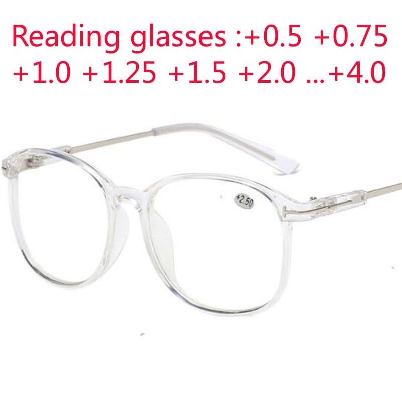 Gafas de lectura con marco grande, gafas para presbicia, gafas de visión de lejos para hombre y mujer con fuerza + 0,5 + 0,75 + 1,0 + 1,25 A + 4,0