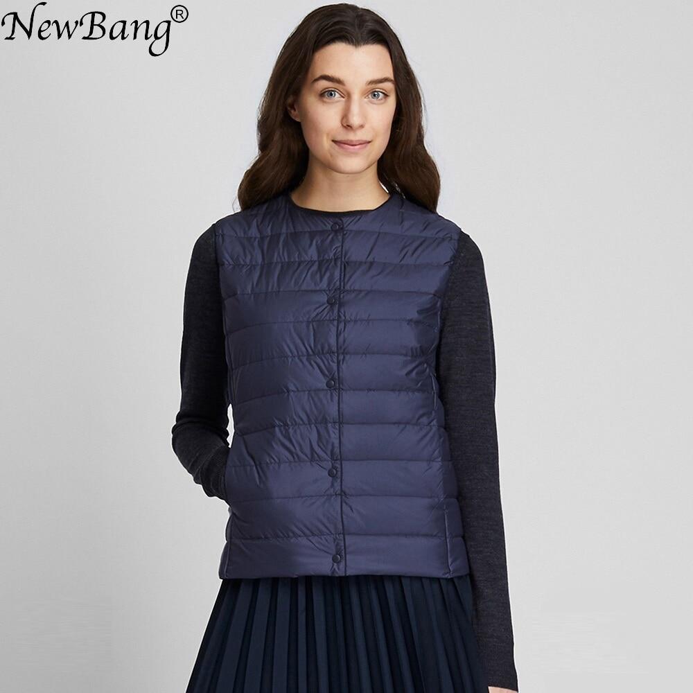Chalecos cálidos para mujer NewBang, chaleco ultraligero de plumas, chaleco de tela mate para mujer, chaleco portátil cálido sin mangas para invierno