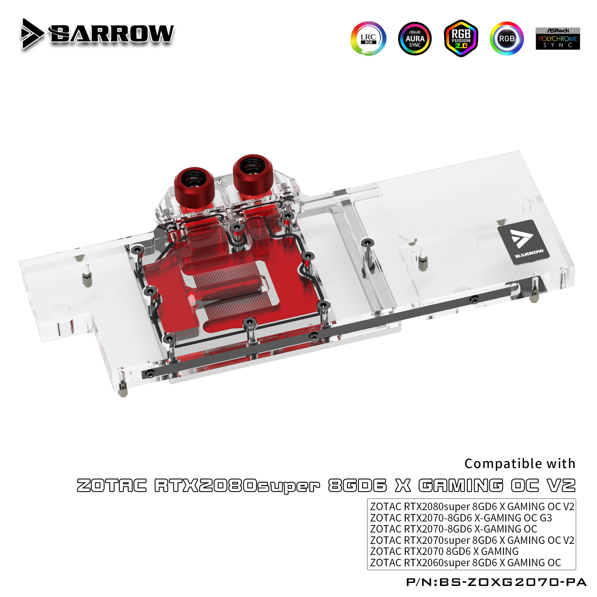 BARROW Water Block use for ZOTAC RTX2070 8GD6 X GAMING OC / 2070 AMP ZT-T20700D-10P / GPU Block Support Backplate D-RGB 3PIN