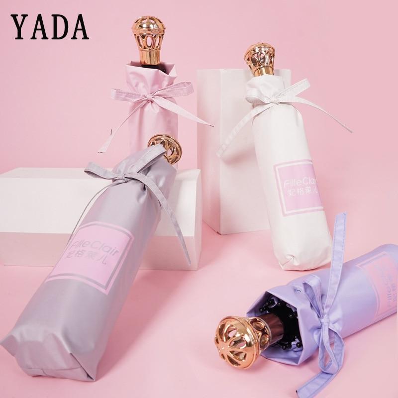 Lidar com Guarda-chuva para Feminino Dobrável à Prova de Vento Yada Marca Coroa Chuva Feminino uv Ensolarado & Chuvoso Designer Guarda-chuva Ys741