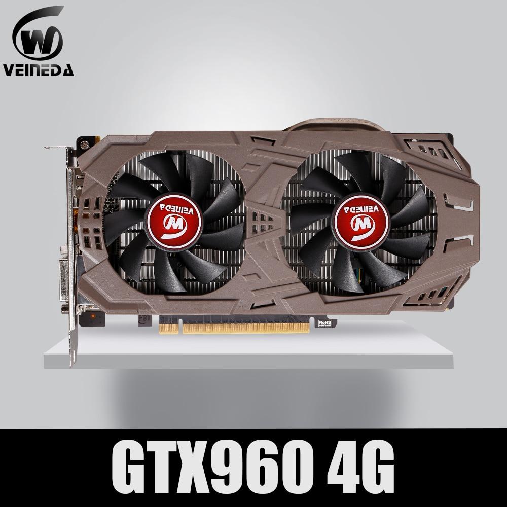 VEINEDA PC Video Card Original GTX 960 4GB 128Bit GDDR5 Graphics Cards for nVIDIA VGA Cards Geforce GTX960 4gb  Dvi game