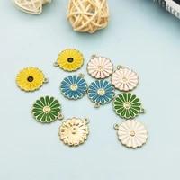 10pcs drop oil daisy flower charms pendants alloy enamel pendants flowers dangle fit diy earrings hair jewelry accessory fx215