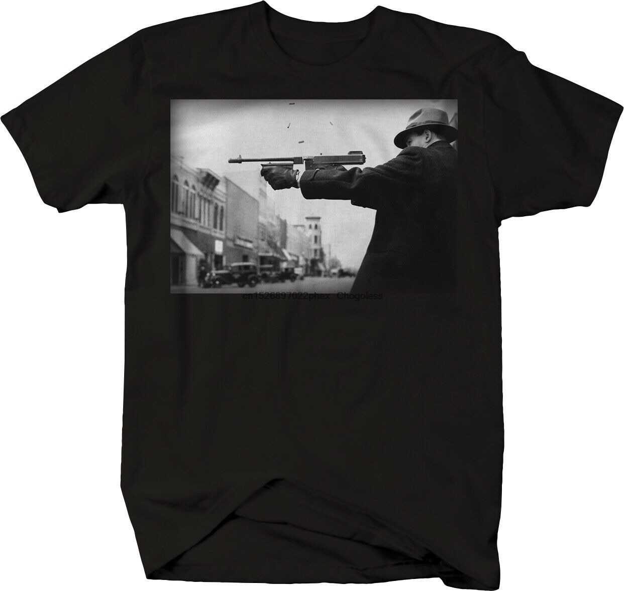 Gângster gangster tiro arma vintage rua gang t camisa