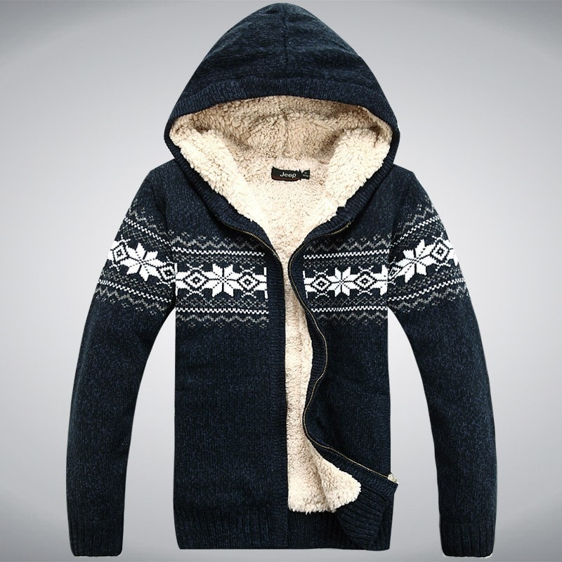 2021 Winter Sweater Men's Thickened Fleece Hooded Cardigan Pure Cotton Knitted Jacquard Men's Sweater Jacket Casual Fashion Top