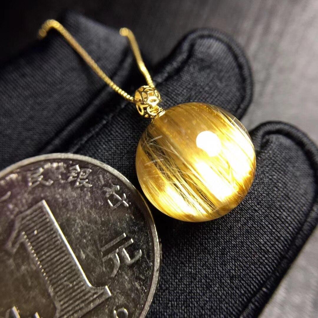 Natural Gold Rutilated Quartz Sphere Ball Round Pendant Brazil 13.4mm 18K Gold Wealthy Stone Women Men Jewelry Genuine AAAAAA