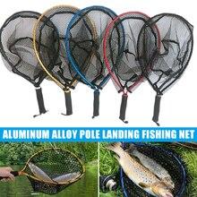Hot البيع الصيد صافي سبائك الألومنيوم القطب طوي الهبوط الصيد المطاط صافي لصيد الأسماك
