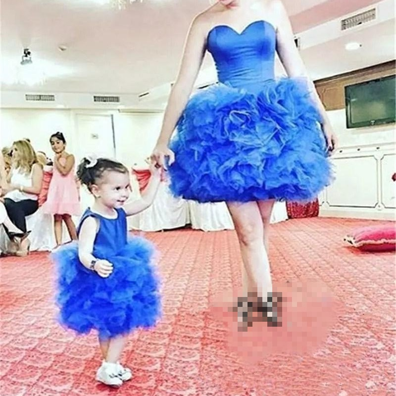 Sleeveless Organza Tutu Mother Daughter Knee Length Blue Dresses Pageant Mother Daughter Birthday Party Dresses Custom