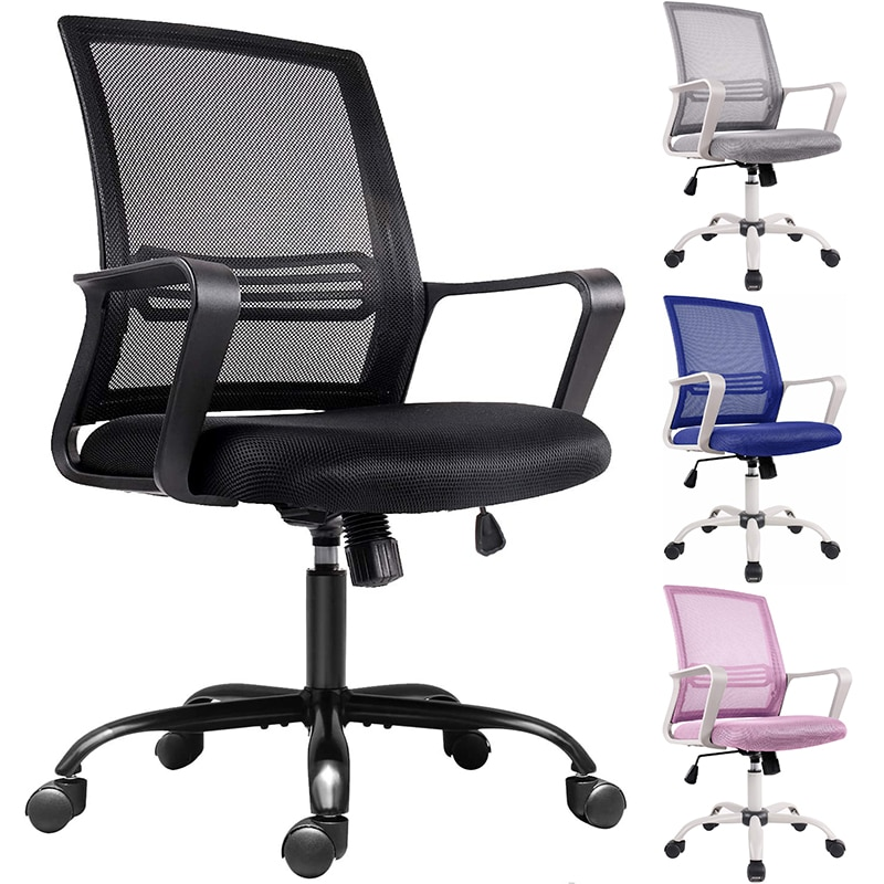 homall ribbed office chair mid back pu leather executive conference desk chair adjustable swivel chair with comfortable arms Office Chair Mid Back Mesh Office Computer Swivel Desk Task Chair Ergonomic Executive Chair with Armrests