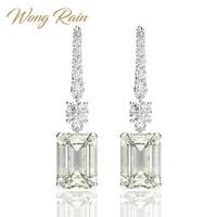 wong rain luxury 925 sterling silver created moissanite gemstone white gold drop dangle hook earrings fine jewelry wholesale