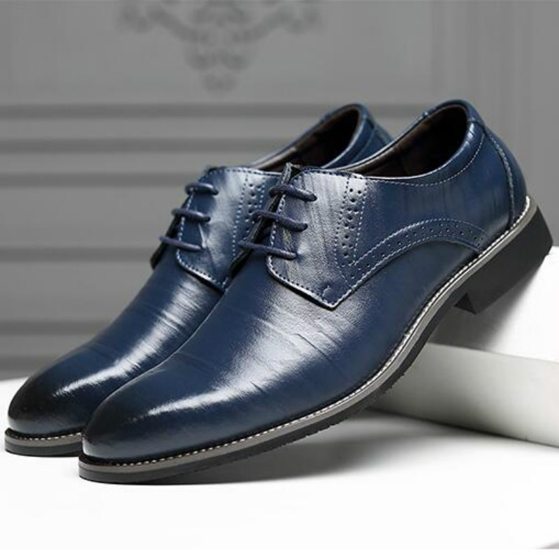 Men Oxfords Shoes British Black Blue Shoes Handmade Comfortable Formal Dress Men Flats Lace-Up Bullock Business Shoes hjm7