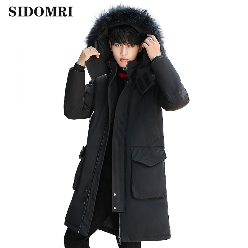 Winter men's down jacket 90% white duck down coat fashion trend thicken warm fur collar mid-long jacket casual running men style