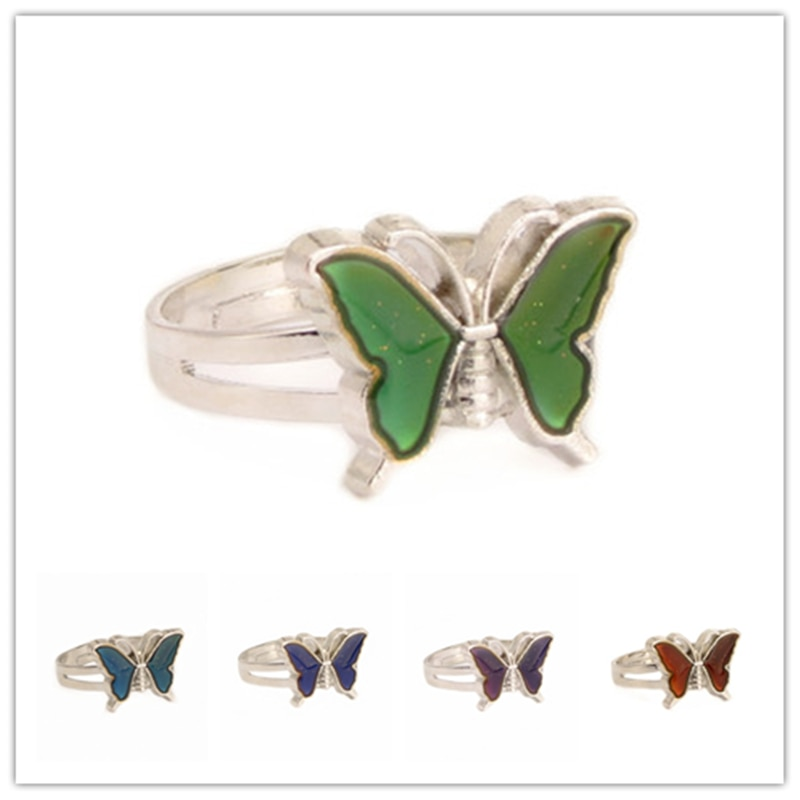 Butterfly Mood Ring Color Change Adjustable Emotion Feeling Changeable Temperature Ring Jewelry For