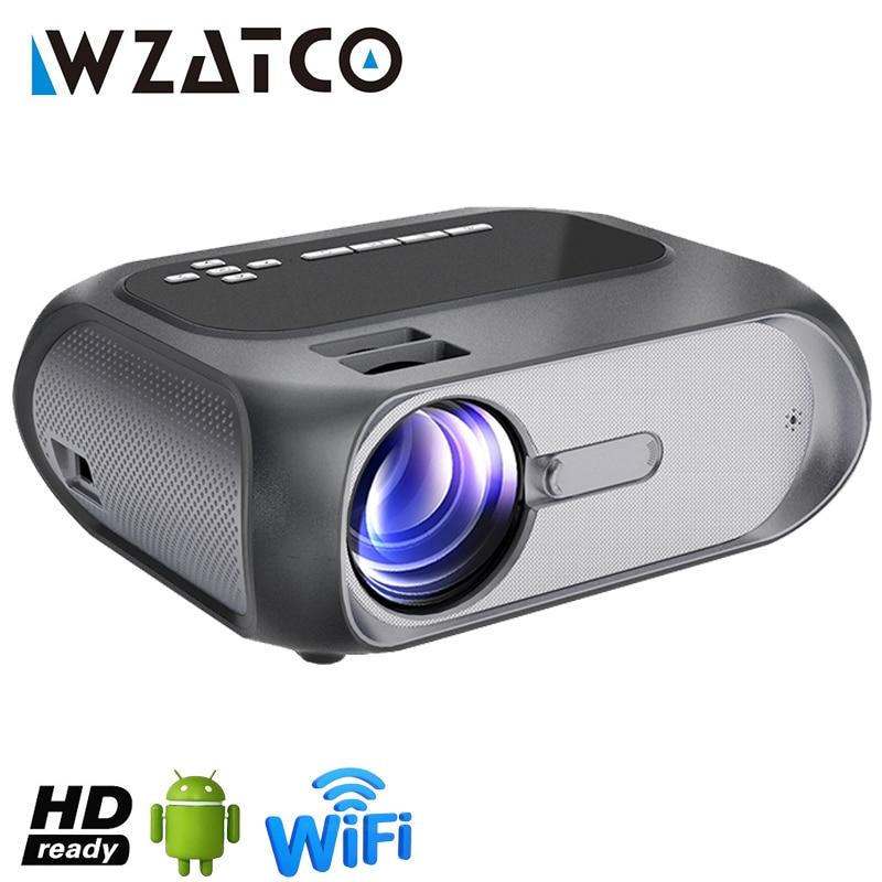 WZATCO-miniproyector LED B7, dispositivo de proyección portátil inteligente con Android 9,0, Wifi,...