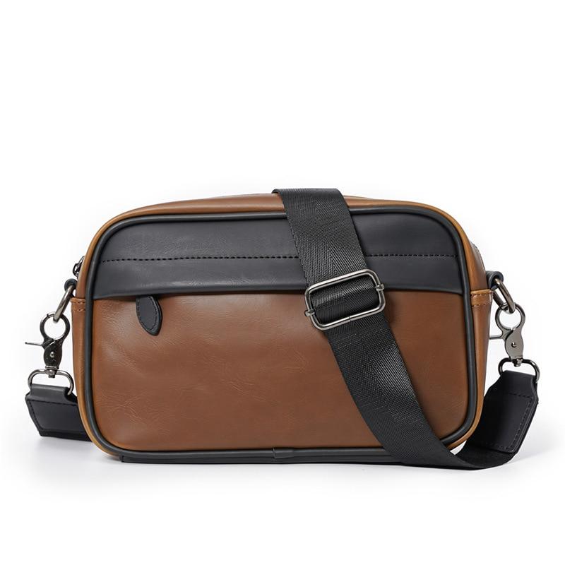 Fashion Brown Men Messenger Bags Leather Crossbody Shoulder Man Bag Classic Sling Small Square Bag F