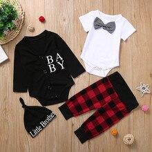 Vêtements pour nouveau-né garçon, barboteuse pour bébé, body avec nœud papillon, manteau à carreaux pantalon, petit frère, chapeau en lettres, ensemble 4 pièces pour bébé