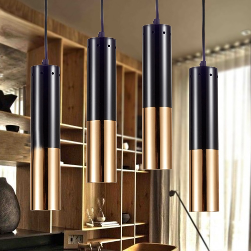 E14 Loft fácil de instalar comedor de una sola cabeza moderno Bar restaurante colgando luz colgante para Hotel tubo de Metal decorativo hogar