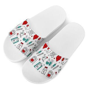 New Nurse pattern Women Custom pattern Cartoon Badslippers Indoor Slippers Beach Flip Flops Bathroom Home comfort Slippers