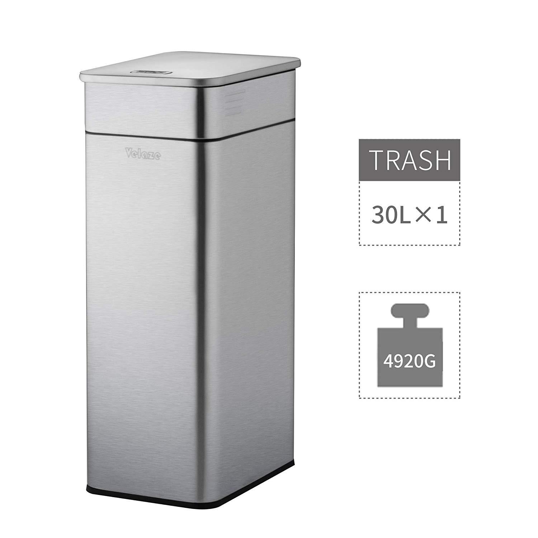Cubo de basura de acero inoxidable Velaze 30L con tapa superior y cubo de basura interior a prueba de huellas dactilares