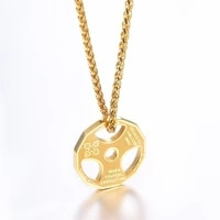 new fitness dumbbell sports barbell necklace mens boho fashion round hollow pendant couple necklace