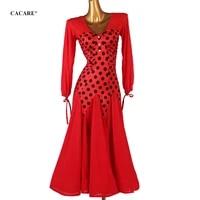 cacare ballroom competition dresses classical dance clothes costume waltz dress standard dresses d0809 mesh sleeve big hem