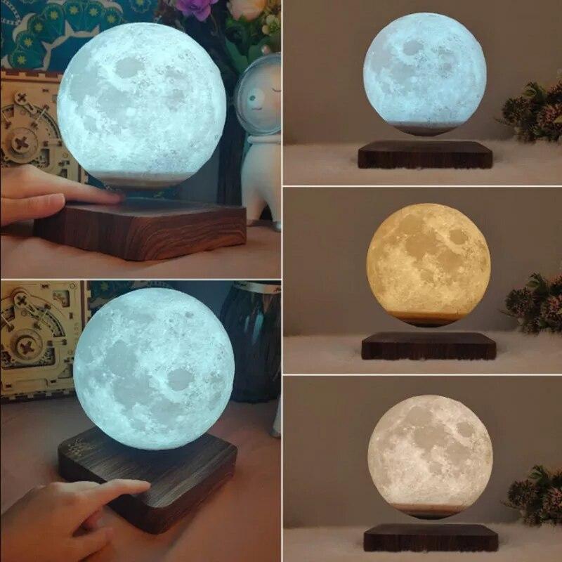 New Led Night Lamp Levitating Creative 3D Touch Magnetic Levitation Moon Lamp Night Light Rotating Led Moon Floating Lamp enlarge