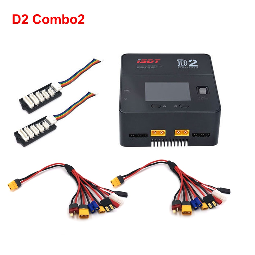 ISDT D2 MarkⅡ Combo With Two Charging Cable And Two JST-XH Balance Board 200W Dual Charger For Lipo Lion LiHV LiFe NiMh Battery