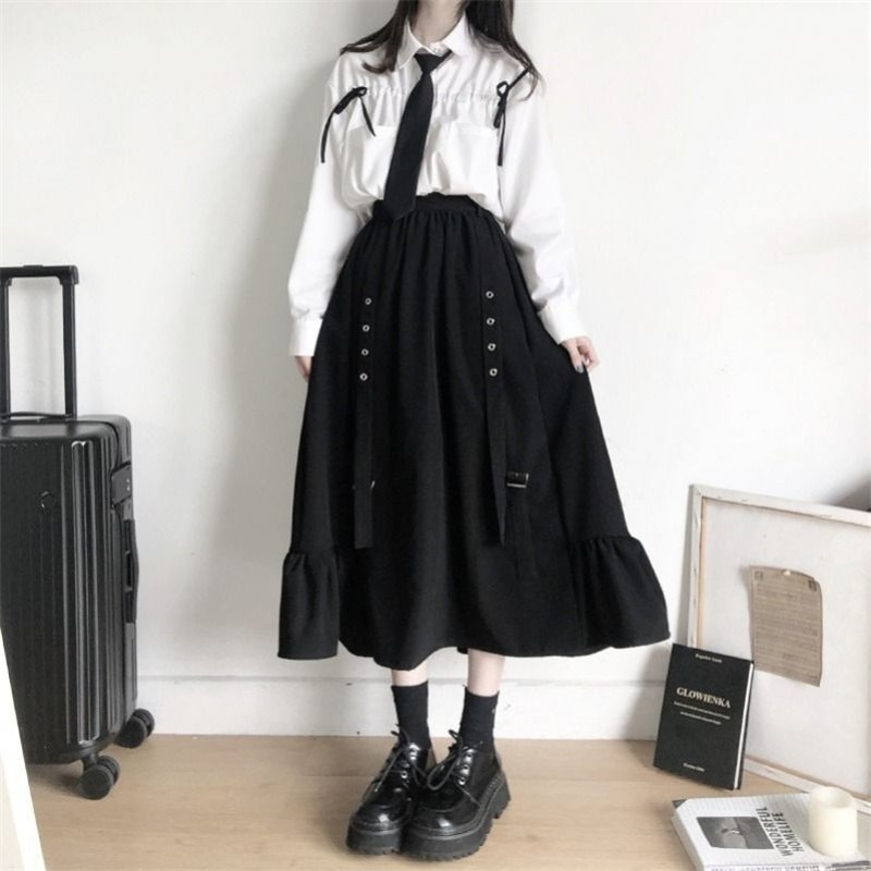Korean high waisted Ruffle Skirt with loose sunscreen drawstring shirt cute ins elastic waist Haraju