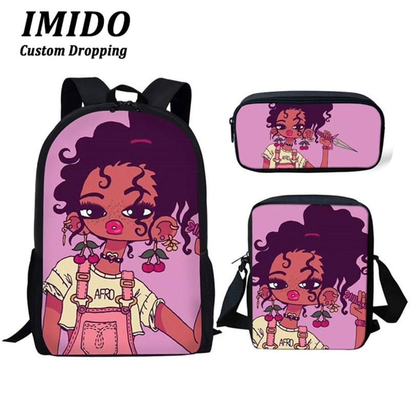 IMIDO 3 unids/set Afro negro chica mágica melanina impresión mochila Escuela Primaria bolsas para estudiantes mochila escolar personalizada para niños