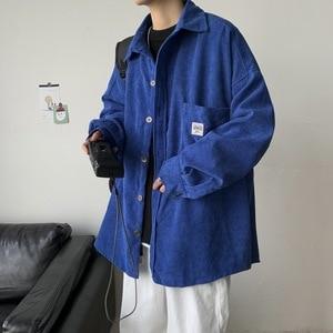 Corduroy Men Shirts For Men Clothing Harajuku Black Shirt Korean Style Men Shirt Long Sleeve Vintage Clothes Streetwear -40