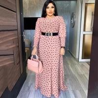 md african print polka dot maxi dresses women long sleeve chiffon dress underdress 2 pieces set new muslim fashion evening gowns