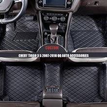 Custom PU Leather Car Floor Mats Trunk mat for Chery Tiggo 3 5 2007-2018 Qq Auto Accessories Double Floor Mat Auto Styling