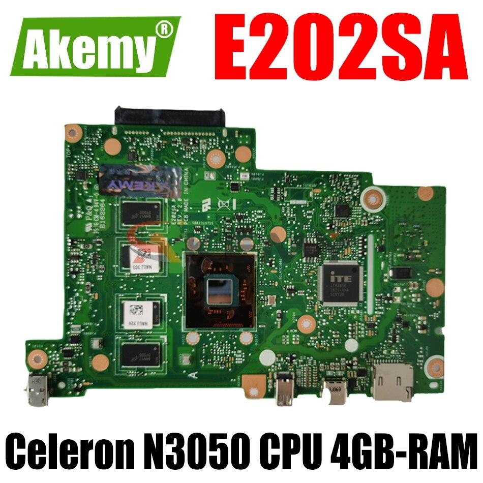 AKEMY E202SA لوحة الأم للكمبيوتر المحمول ASUS EeeBook E202SA E202S اللوحة الرئيسية الأصلية 4GB-RAM Celeron N3050 CPU