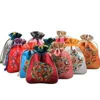 mini reusable handmade fabric storage bag satin cloth jewelry pouch patchwork chinese ethnic embroidered drawstring gift bags