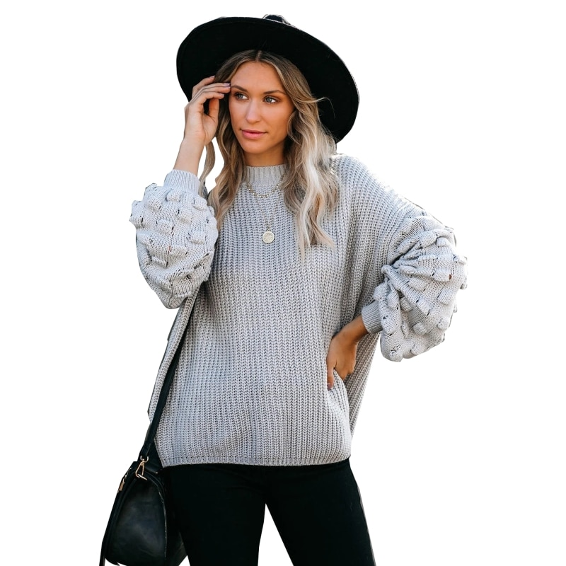 Women Lantern Long Sleeve Round Neck Knitted Sweater Hook Flower Hollow Pullover enlarge