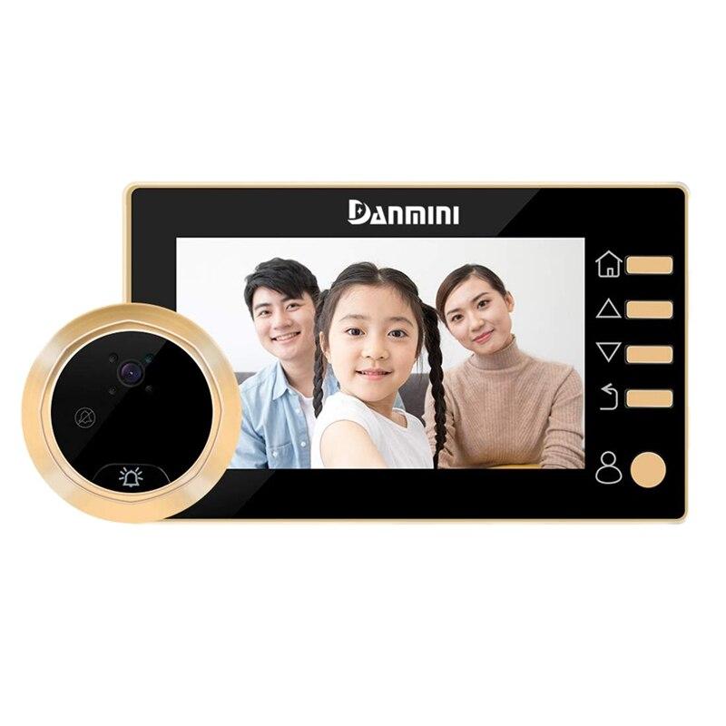 دانميني جرس باب يتضمن شاشة عرض فيديو ثقب الباب مع الكاميرا ، 4.3 بوصة Hd شاشة ديجيتال ، مادة سبائك الزنك القط عيون مراقب الباب ، 300 ، 000 P
