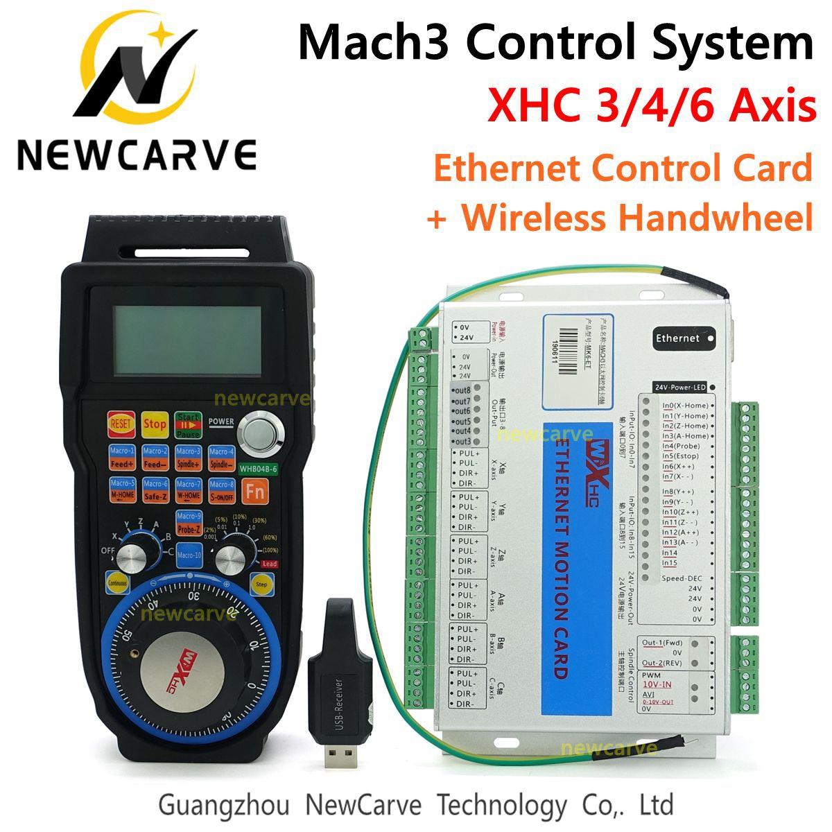 Mach3 مجموعة التحكم XHC 2MHz إيثرنت لوحة القطع 3 4 6 محور بطاقة التحكم في الحركة مع MPG اللاسلكية قلادة عقارب WHB04B