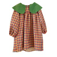 2021 Baby Girls Dresses Summer Dresses Kids Long Sleeve Plaid Turn-Down Collar A-Line Dress Summer Princess Dresses For Girls