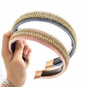 2020 Vintage Wool Cloth Rhinestone Bezel Hair Band Women Headband Winter Hair Clips Girls Hair Accessories opaska do wlosow