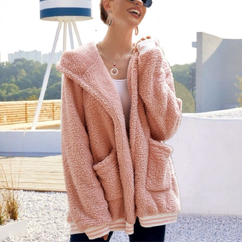 2020 Loose Wool Coat With Hat Striped Long Jacket Winter Thick Warm Blend Cardigan Abrigos Mujer Inv